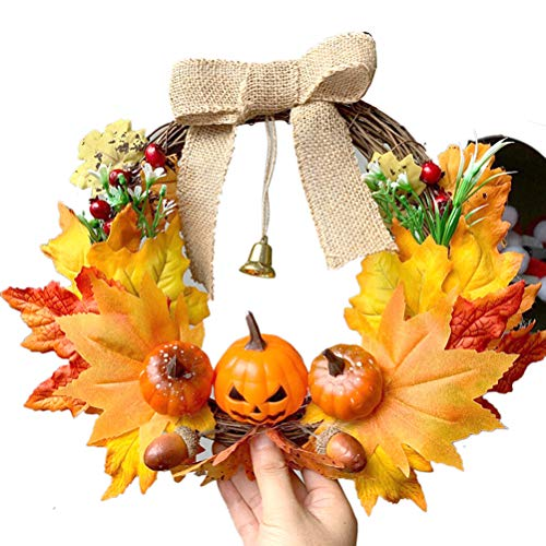 AIJIANG 30CM Halloween Flower Artificial Wreath Maple Leaf Pumpkin Wreath Autumn Wreath Thanksgiving Christmas Garland with a Bell