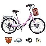 Canastas de Bicicletas para Adultos para Mujeres Bicicleta de cercanías de Ciudad Vintage Ligera 24 Pulgadas 7 velocidades Bicicletas de Crucero