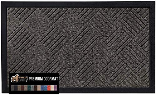 Gorilla Grip Original Durable Natural Rubber Door Mat, 29x17, Heavy Duty Doormat, Indoor Outdoor, Waterproof, Easy Clean, Low-Profile Mats for Entry, Garage, Patio, Busy Areas, Gray Diamond