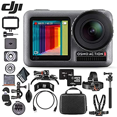DJI Osmo Action 4K Camera - 128GB & 64GB MicroSD Memory Card - Mounting Kit - Reader & Wallet - Cleaning Cloth & More from DJI