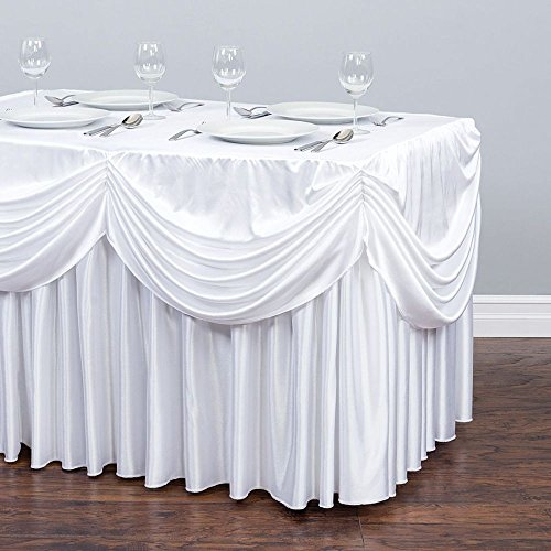 6 ft. Drape Chiffon All-in-1 Tablecloth/Pleated Skirt White