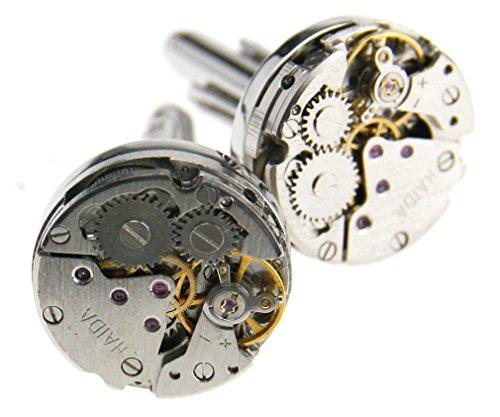 Runde Manschettenknöpfe mit Uhrwerk-Design, Hochzeitsgeschenk für Männer, im Vintage-Stil