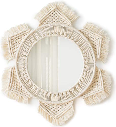 Mkono Hanging Wall Mirror with Macrame Fringe Round Boho Mirror Art Decor for Apartment Living Room Bedroom Baby Nursery Dorm Entryways, Ivory
