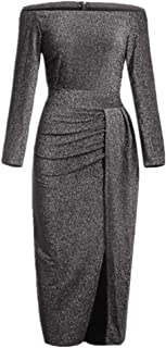 Ouregrace Womens Off Glitter Ruched High Slit Evening Party Cocktail Dress