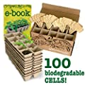 Blooming Life Seedling Starter Tray Set - 10 Germination Trays x 10 Biodegradable Pots for Seedlings - Bonus 20 Bamboo Markers and Gardening Book Included - 100% Natural and Compostable