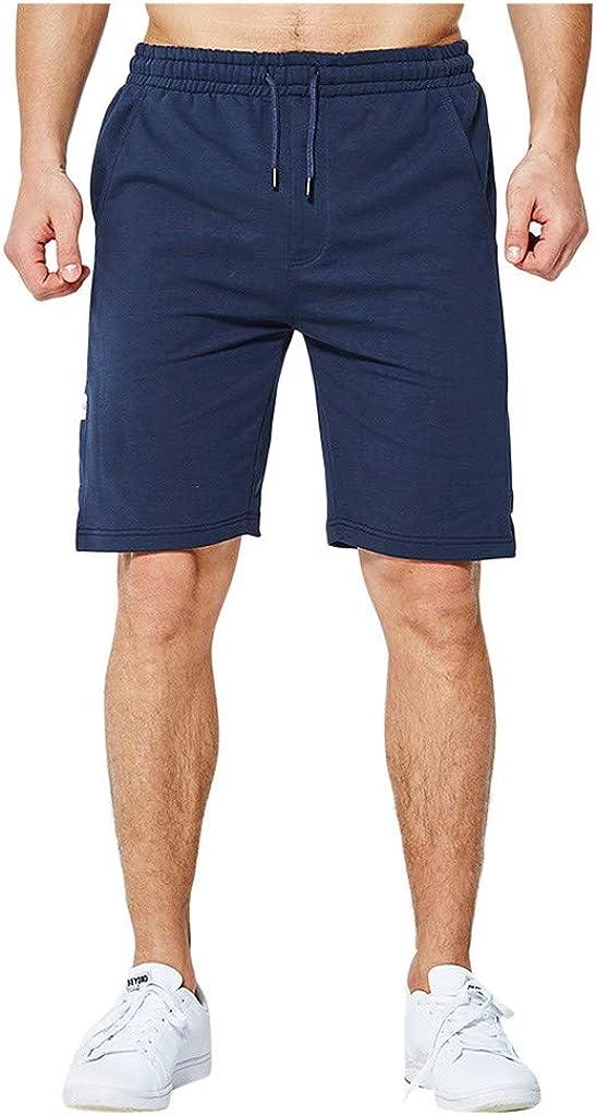 Forthery-Men Casual Sports Shorts 3/4 Jogger Capri Pants Breathable Invisible Zipper Pockets and Hidden Pocket