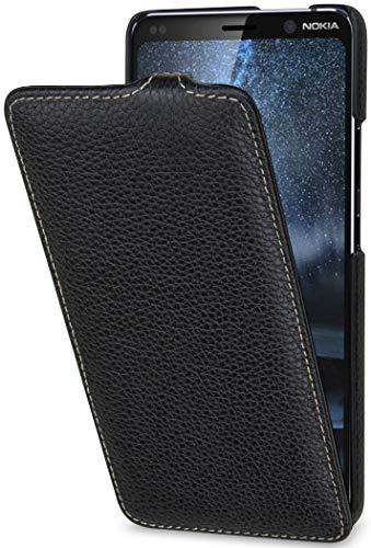StilGut UltraSlim kompatibel mit Nokia 9 PureView Hülle aus Leder - Nokia 9 PureView Flip Case, Klapphülle, Handyhülle, Lederhülle - Schwarz