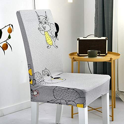 GVJKCZ Fundas para sillas,Ardilla Animal de Dibujos Animados Amarillo Gris sillas Elásticas y Modernas Funda Asiento Silla,Extraíbles y Lavables-Decor Restaurante,2 Piezas