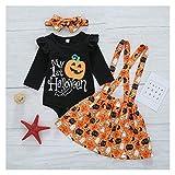 XYXINS Cabritos del niño de los bebés de Halloween Set Imprimir Romper otoño Falda Larga Trajes de Manga Casual Mi 1r Halloween Ropa de Calabaza (Color : Negro, Kid Size : 12M)
