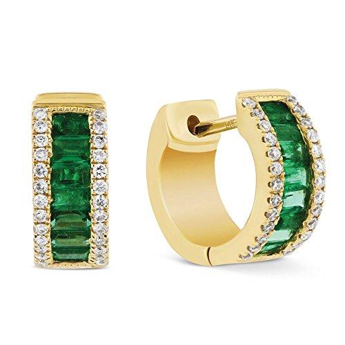 Pendientes de esmeralda de 1,88 quilates de oro amarillo sólido de 14 quilates con sello de diamantes para mujer.