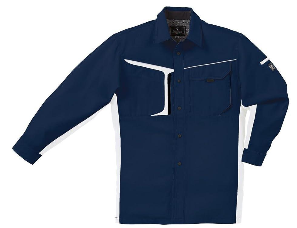 根拠哺乳類強調KR:25598 長袖制電シャツ (男女兼用 ストレッチ)(5L 11: ネイビー×シルバー)