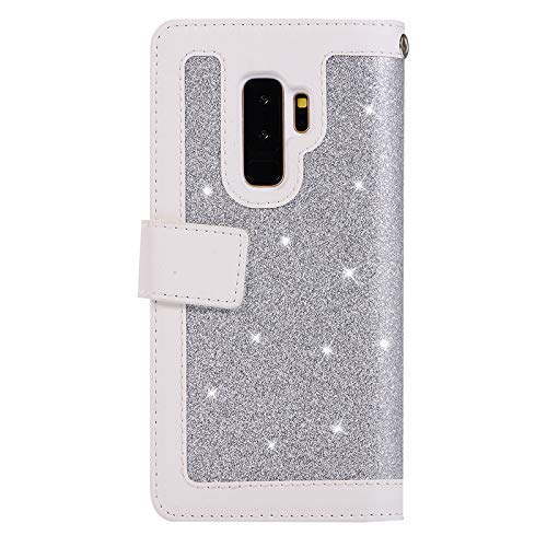 Jennyfly Phone Cover for Galaxy S9, Women Fashion Wallet-Style PU Leather Hand Free Stand Purse Case with Hand Strap Multi-Slots Pocket Protective Phone Case for 5.8 inch Galaxy S9 - Silver