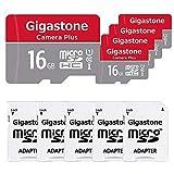Gigastone Carte Micro SD 16 GB, Pack de 5, Caméra Plus 90 Mo/s, Vidéo Full HD, Carte mémoire Micro SDHC UHS-I U1 C10 Classe 10, avec Adaptateur MicroSD vers SD