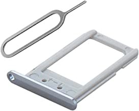SooMine Single Sim Card Tray Slot Holder Replacement Part Compatible with Samsung Galaxy S6 Edge +Plus G928 AT&T, Sprint, T-Mobile, Verizon, US-Cellular(All Carriers) (Silver)