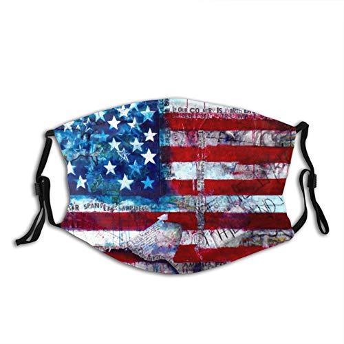 American Flag Face Mask with 2pcs Filters Reusable Washable Fabric Adjustable Bandanas Neck Gaiter Balaclavas for Men Women