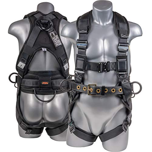 Palmer Safety Fall Protection Premium Full Body 5Pt Safety Harness I Padded Back Support, Quick-Connect Buckle, Grommet Legs, Back&Side D-Rings I Free Shock Absorber D-Ring Extender (Medium)