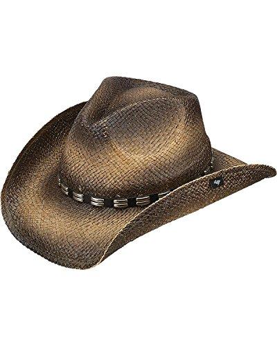 Peter Grimm Ltd Men's Bret Studded Raffia Straw Cowboy Hat Brown One Size