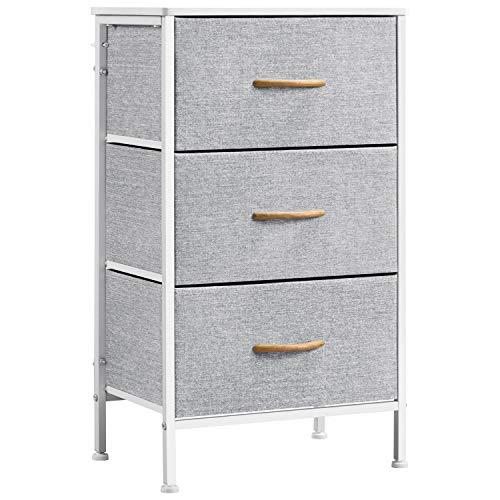 Yaheetech Schrank mit 3 Schubladen aus Stoff Kommode Aufbewahrungsboxen Schränke Beistelltisch Nachttisch Organizer Metall Praktischer für Wohnzimmer Schlafzimmer Büro Flur