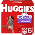 Huggies Little Movers Baby Diapers, Size 6, 104 Ct, One Month Supply by Kimberly-Clark Corp.
