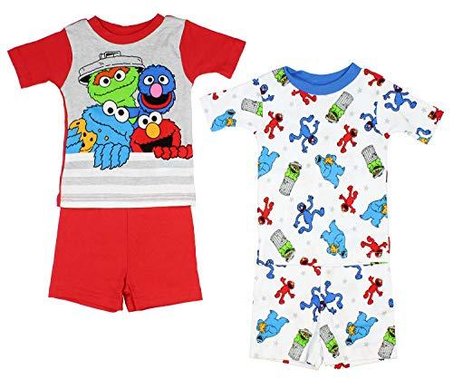 Sesame Street Little Boys' Fuzzy Friends 4-Piece Cotton Pajama Set (4T)