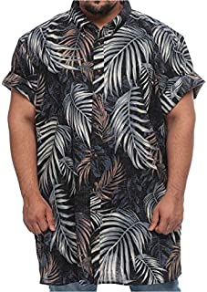 Harbor Bay Big and Tall Wrinkle Resistant Short Sleeve Shirt for Men - Palm Leaf