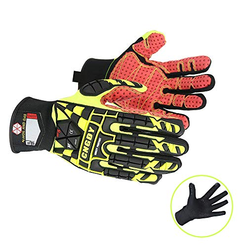 CNGDY Heavy Duty Work Gloves Impact Reducing Safety Gloves Size L