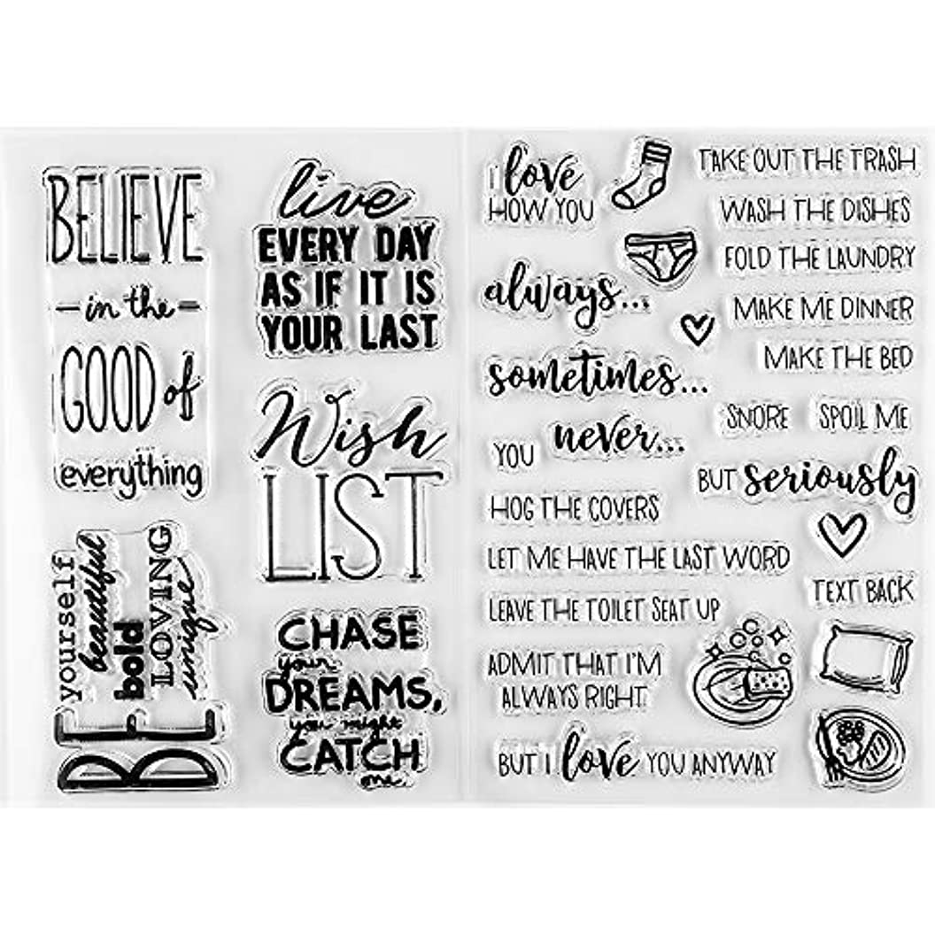 MaGuo Encouragement Wordds Clear Stamps Wish List Dream Come Ture Daily Plan for Paper Craft Decoration and DIY Scrapbooking gfjqtikimcp18