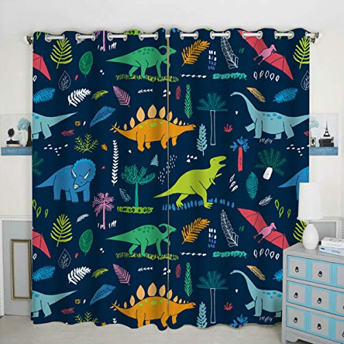 QH Window Curtain Panels Dinosaur Pattern Blackout Curtain Panels Thermal Insulated & Light Blocking 42W x 84L inch (Set of 2 Panels)