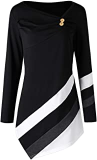 SADUORHAPPY Women Long Sleeve Striped Asymmtrical Tunic Tops Plus Size Casual Button Blouse T-Shirts