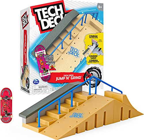 TECH DECK, Jump N' Grind X-Connect Park Creator, Customizable and Buildable Ramp Set with Exclusive Fingerboard, Kids Toy for Ages 6 and up