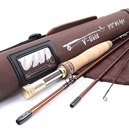 MAXIMUNCATCH V-Gold Fliegenrute IM12 Graphit 4 Teile Fliegenfischen Rute mit Cordura Rohr Angelrute in 4/5/6/8wt (9ft 8wt Rute)