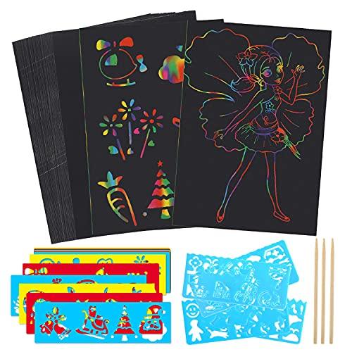 HOWAF Kratzbilder Set für Kinder, 50 Blätter Kratzer Malerei Papier Kratzpapier Scratch Art zum Kinder Zeichnen und Basteln Geschenke & Spielzeug für Kinder   mit 16 Schablonen, 3 Holzstiften
