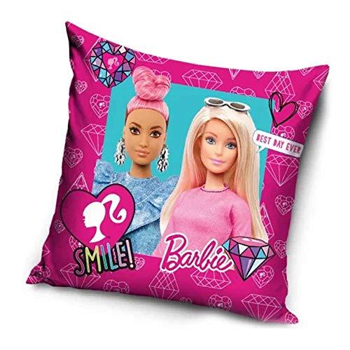 Le fantasie di casa Federa Copri Cuscino Barbie Best Day 40 x 40 in Poliestere con Stampa Originale Mattel.