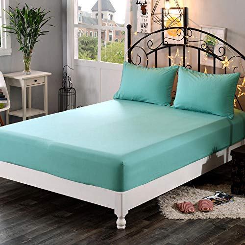 GTWOZNB Ultra Soft Hypoallergenic Microfiber Quilt Cover Sets Pure color bed sheet non-slip-bean green_1.8m