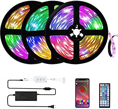Buthsku LED Lights, 50ft/15M Led Strip Lights APP controll, Music Sync Color Changing Light Strip with 44-Keys IR Remote Controller, RGB 5050 LED Rope Light for Home, Bedroom, TV, Party