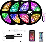 Buthsku LED Lights, 50ft Led Strip Lights APP controll, Music Sync Color Changing Light Strip with 44-Keys IR Remote Controller, RGB 5050 LED Rope Light for Home, Bedroom, TV, Party