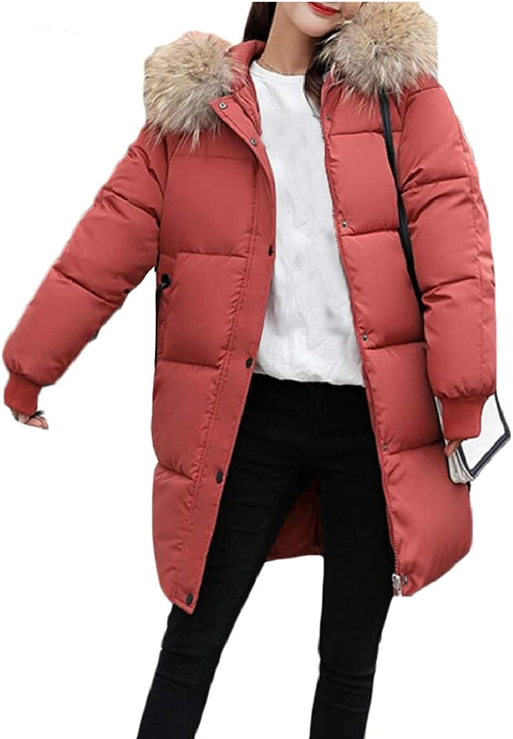 LKCENCA Women's Loose Thick FauxFur Collar Quilted Outdoor Down Jacket Coat