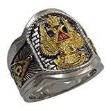 UNIQABLE Masonic Scottish Rite 33 Degree Ring 18K Gold PLD White Version 22 Grams Templar Handmade BR-23 (12.5)