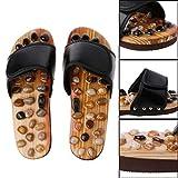AMYGG Zapatillas de Masaje de Acupresión con Piedra Natural, Zapatillas de Masaje de Piedra, Acupuntura de Pies, Acupuntura, Sandalias de Reflexología, Cuidado de La Salud, Zapatillas de Masaje Negro