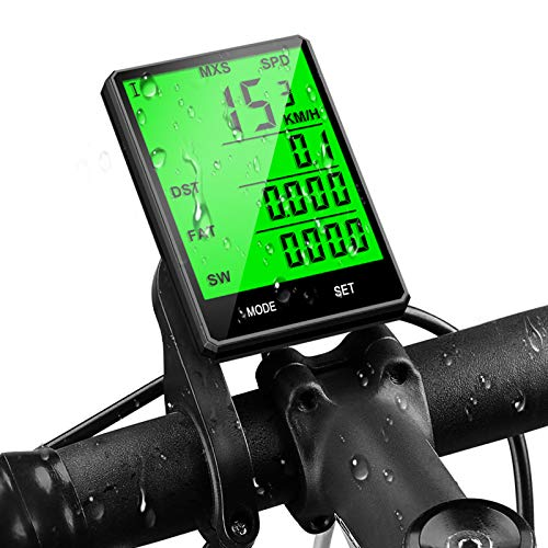 mixigoo Fahrradcomputer Kabellos, Fahrradtacho Drahtlos 22 Funktionen IP65 Wasserdicht Fahrrad Tachometer, LCD-Hintergrundbeleuchtung Geschwindigkeit Radcomputer für Radsport Realtime Speed Track