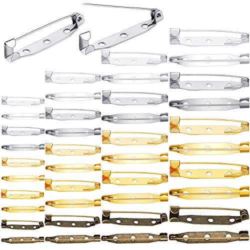 200 Spille Perni Bar Spilla Badge Spilla per Fermaglio Spilla Etichetta con Nome di Sicurezza sul Retro per Accessori DIY Laurea Regali Artigianato Progetti Gioielli, 4 Taglie e 5 Colori