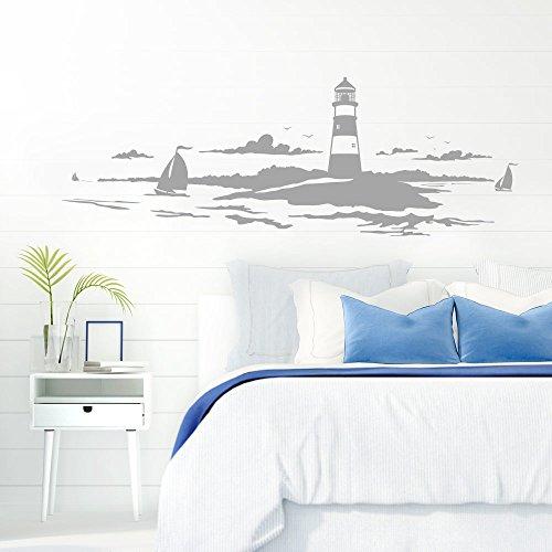 Grandora Skyline Küstenlandschaft Leuchtturm I Silbergrau 120 x 42 cm I Bad Wohnzimmer Schlafzimmer Aufkleber Wandaufkleber Wandsticker Modern W974