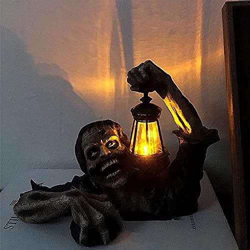 DHHZRKJ Decoración de Halloween Zombie, Estatua de Resina de Terror, Accesorios de Linterna portátil con luz LED, Adorno Artesanal Hecho a Mano para el jardín de su casa