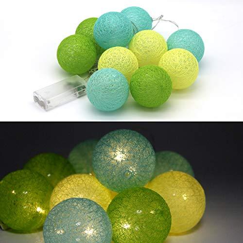 Tronje 10 LED Baumwollkugeln 6cm - 1,9m Kugel-Lichterkette 4h-Timer batteriebetrieben Lichterkugeln Gelb-Grün