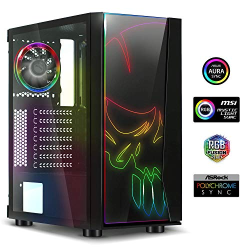 Spirit Of Gamer - Ghost ONE - PC Gamer ATX/MATX Gehäuse - Gehärtetes Glas Front und Wand - 1 Lüfter RGB LED 120mm - RGB LED : 60 Modi - Aura/MSI Mystic/ASROCK Kompatibel (Ghost ONE)