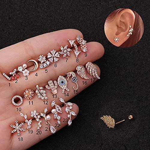 JIUXIAO 1 Pieza de Pendientes de circonita con alas de Animales para Mujer,joyería de Moda,Pendientes deperforación de Acero Inoxidable de Oro Rosapara Adolescentes