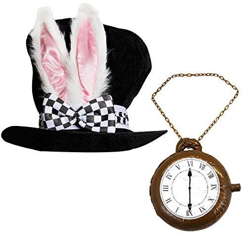 Erwachsene Deluxe Wonderland Kaninchen Hat mit den großen Ohren und Schleife + Jumbo Uhr ideal für Schule Buch Woche + Welt Buch Tag Fancy Kleid Kostüm Zubehör