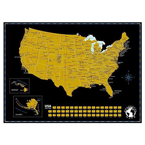 Wonderful Maps Scratch Off Map Of The World With US States, Countries, Capitals And Flags On Black Background, 24 inches x 18 inches. Prime Quality Travel Gift. Scratchable World Map Personalized Gift