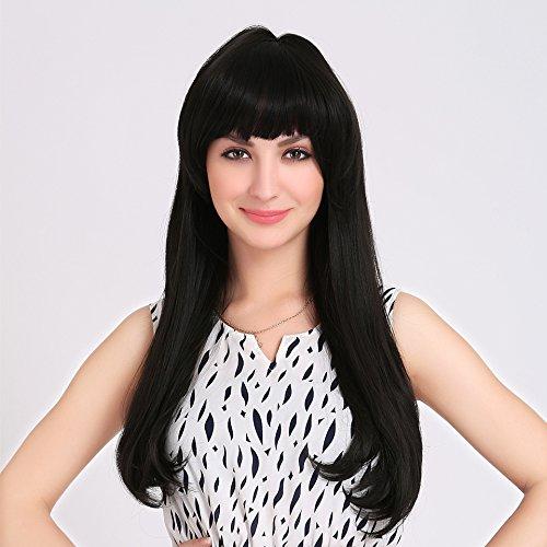 Meylee Perruques Naturelle Fashion noir 55cm perruque longue ligne droite avec Bang Neat