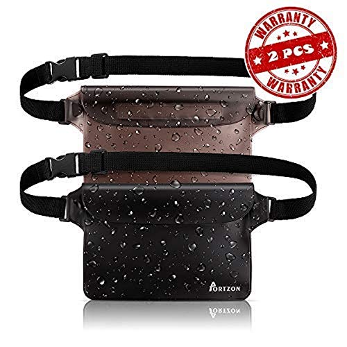 Portzon Waterproof Pouch, Fanny Pack, Dry Bag Pouch with Waist Strap, 3 Zipper Design Perfect for Boating Swimming Snorkeling Kayaking Beach Pool Water Park